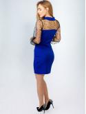 Эффектное платье с сеткой в горошек 2908