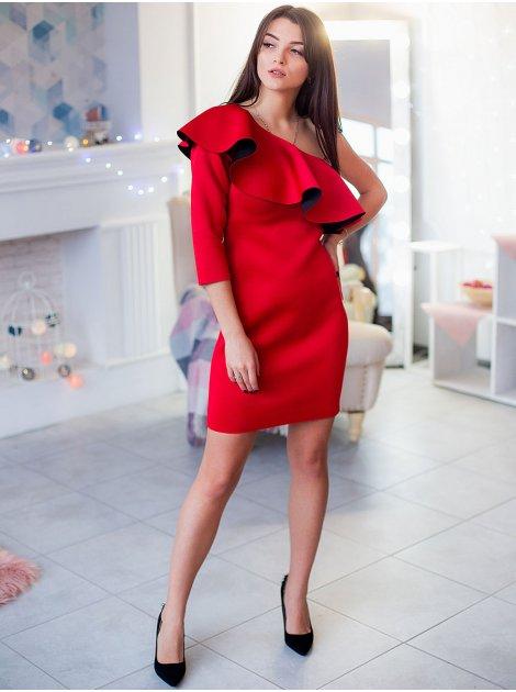 Нарядное платье с воланом на одно плечо 2909