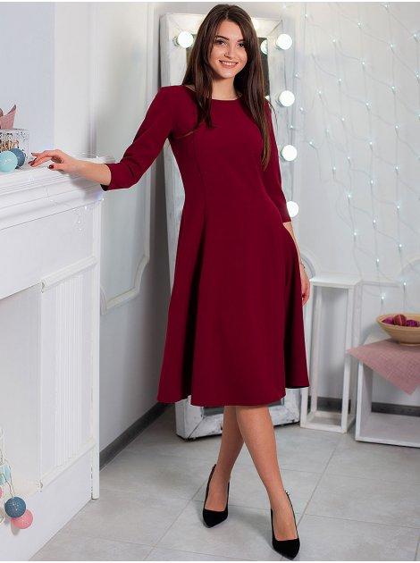 Яркое платье с рельефами и четвертным рукавом. Арт.2550