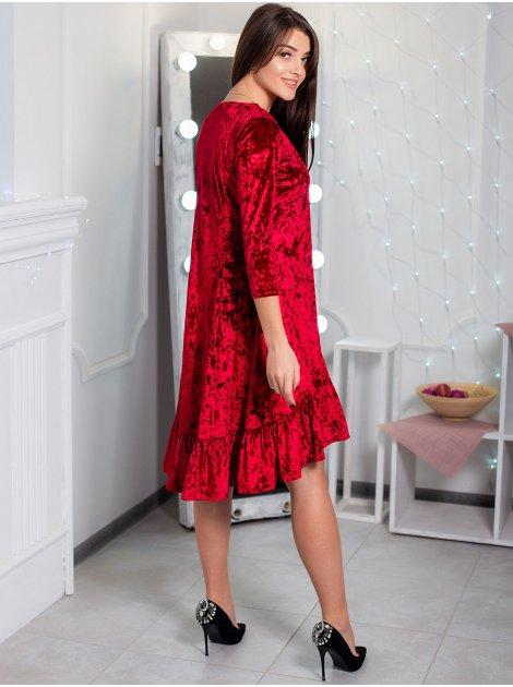 Нарядное велюровое платье с рюшей по низу. Арт.2456