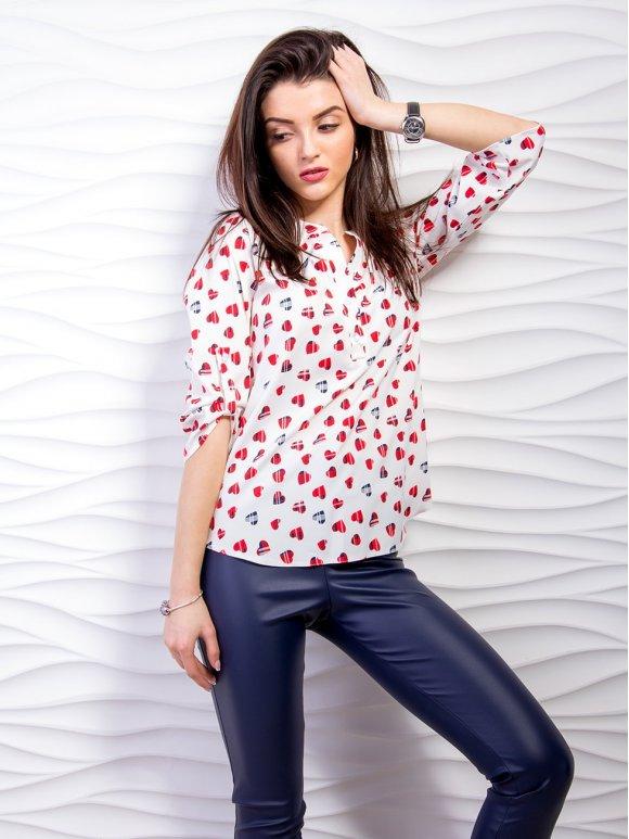 Блуза со стойкой и хлястиками на рукавах. Арт.2298
