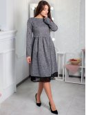 Изумительное трикотажное платье с кружевом по низу. Арт.2540