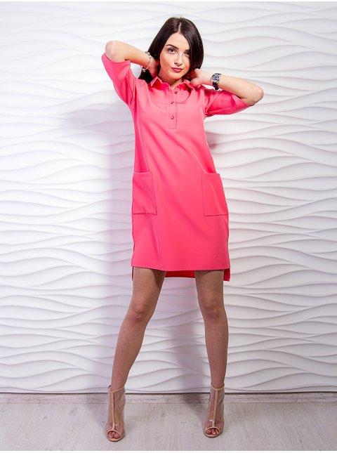 Платье - рубашка с карманами и разрезами по боках. Арт.2227