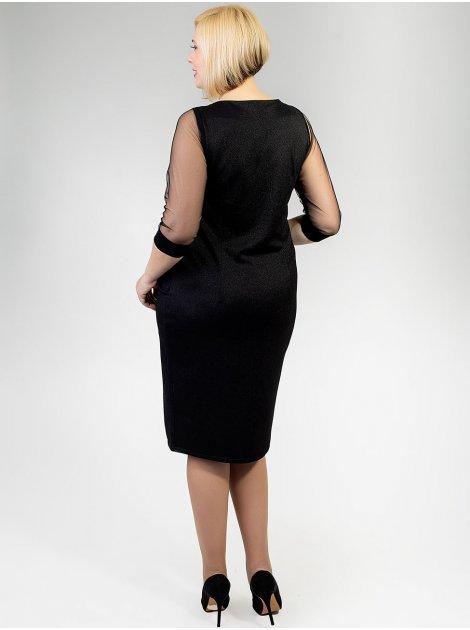 Нарядное комбинированное платье size+ с украшением 2916