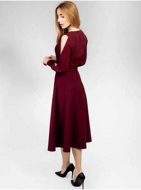 Платье с разрезами на рукавах и поясом 2920