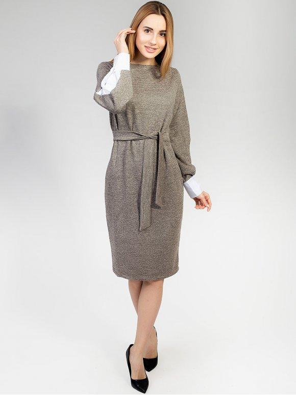 Оригинальное платье с нарядными комбинированными рукавами. Арт.2597