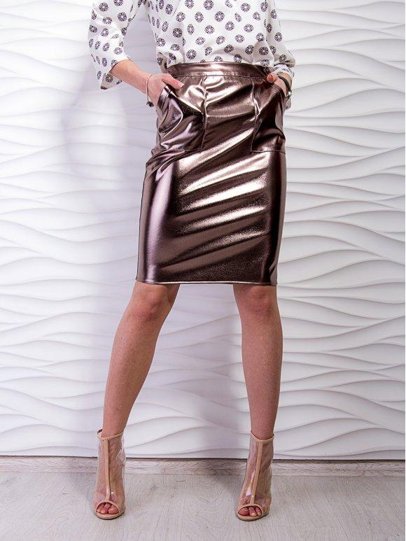 Юбка из экокожи металлик с накладными карманами. Арт.2303