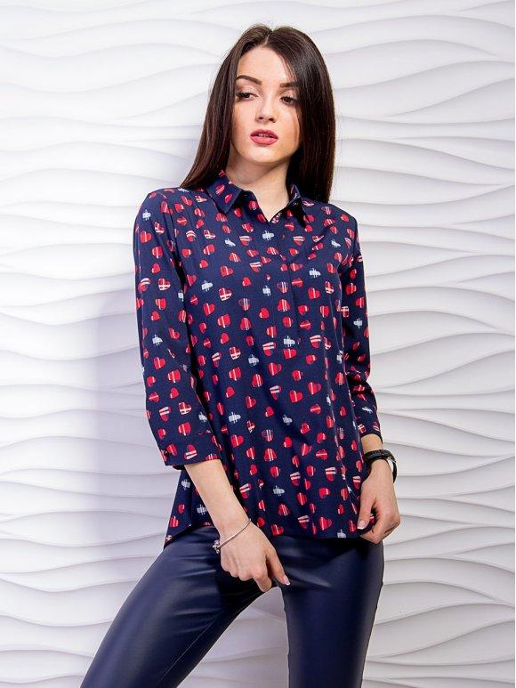 Легкая принтованная блуза с воротником. Арт.2299
