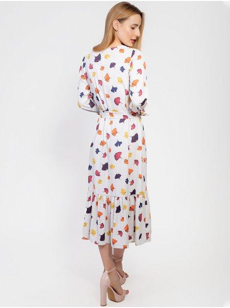Нежное платье с рюшей по низу и поясом 2945