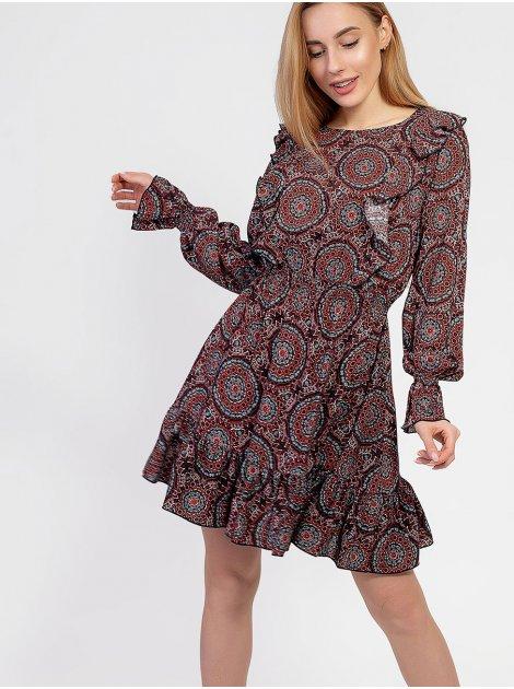 Игривое платье с рюшами в этно принт 2940