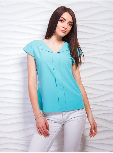 Блуза с v-образным вырезом, декорированная жемчугом. Арт.2316