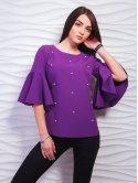Блуза с воланами на рукавах, декорированная жемчугом. Арт.2286