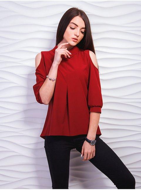 Блуза с воротником и открытыми плечами. Арт.2315