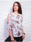 Блуза из принтованной ткани с элегантными разрезами на рукавах. Арт.2323