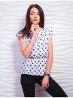 Принтованная блуза с резинкой по талии и завязкой. Арт.2324