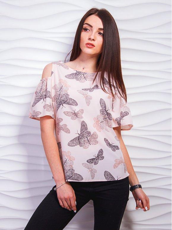 Легкая блуза с вырезами на плечах и нарядными рукавами. Арт.2325