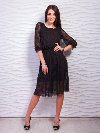 Нарядное платье с сеткой в горошек. Арт.2319