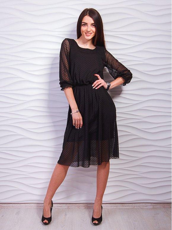 платье с сеткой в горошек фото
