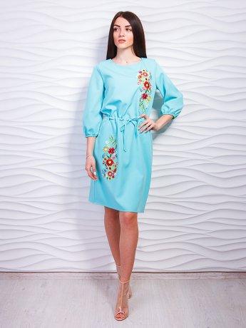 Платье на кулиске с красивой вышивкой. Арт.2300