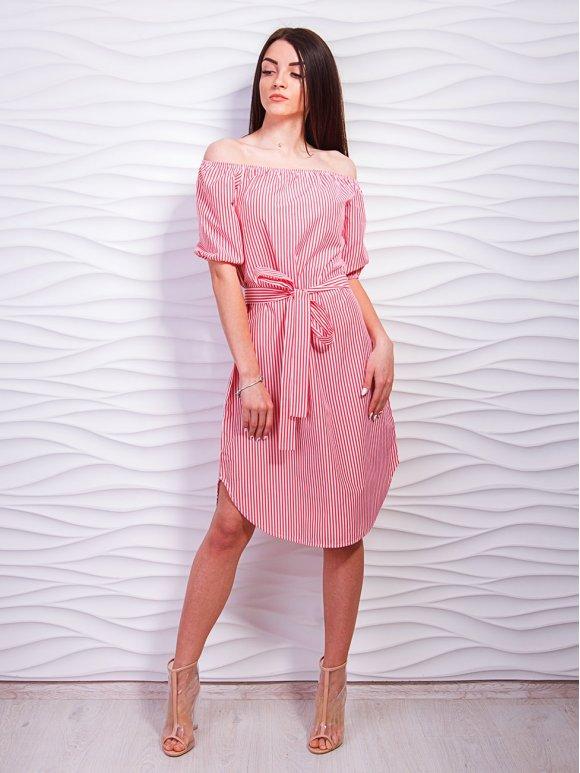 Платье с открытыми плечами и поясом. Арт.2328
