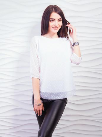Эффектная блуза из сетки с флокированным горошком. Арт.2269