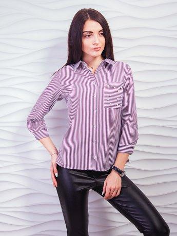 Хлопковая рубашка в полоску с карманом, декорированным жемчугом. Арт.2327