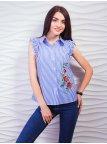 Стильная рубашка с рюшами и красивой вышивкой. Арт.2337