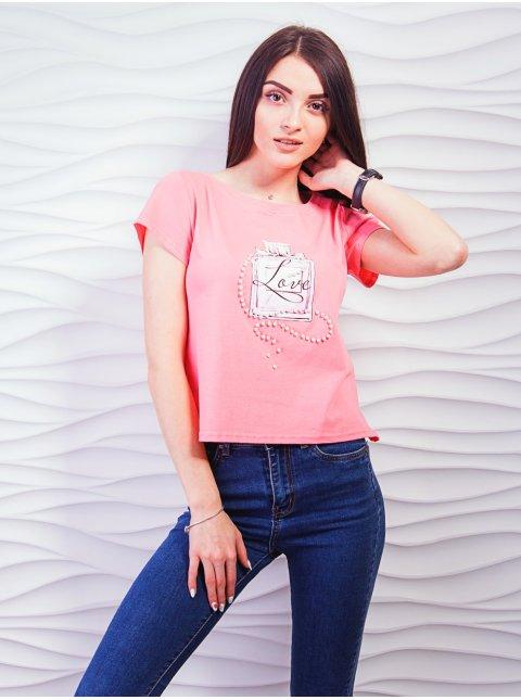 Коротка футболка з принтом і перлинами. Арт.2357