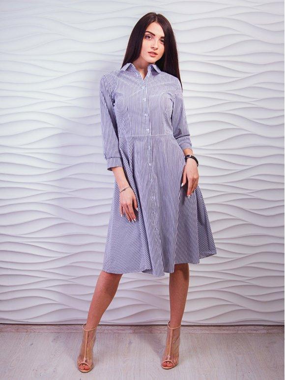 Красивое платье-рубашка в полоску. Арт.2288