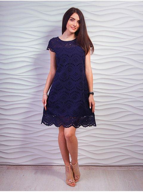 Модное платье А-силуэта из выбитого батиста. Арт.2347