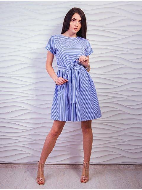 Легкое молодежное платье в полоску с поясом. Арт.2330