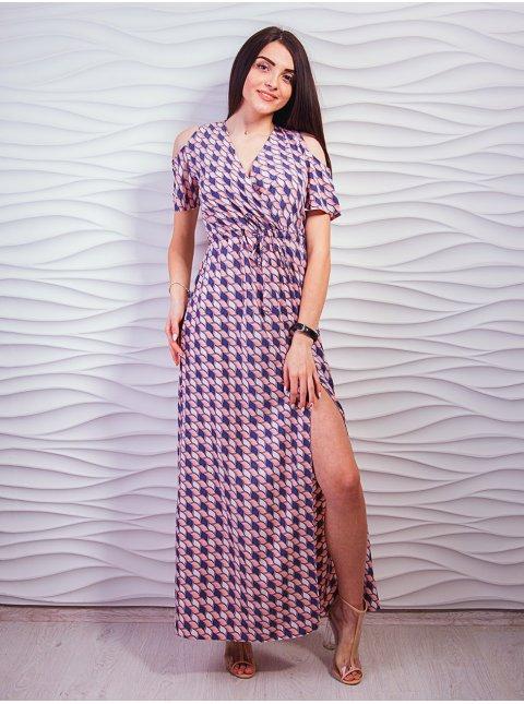 Роскошное платье с разрезом внизу и вырезами на плечах. Арт.2326