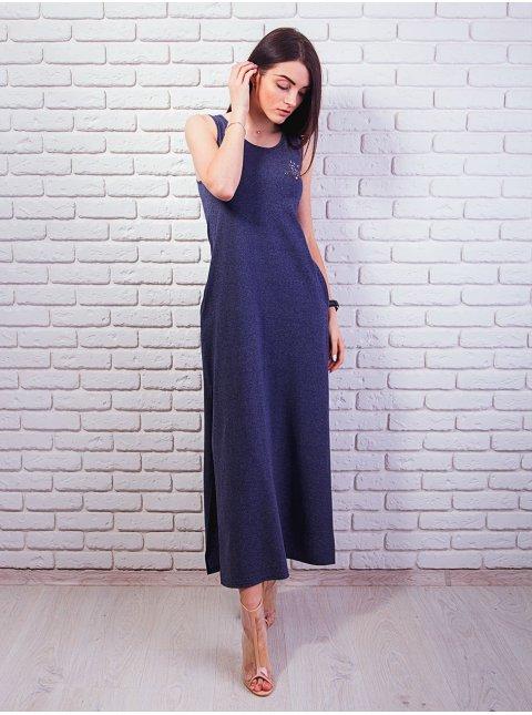 Длинное платье с карманами и распорками по бокам. Арт.2359