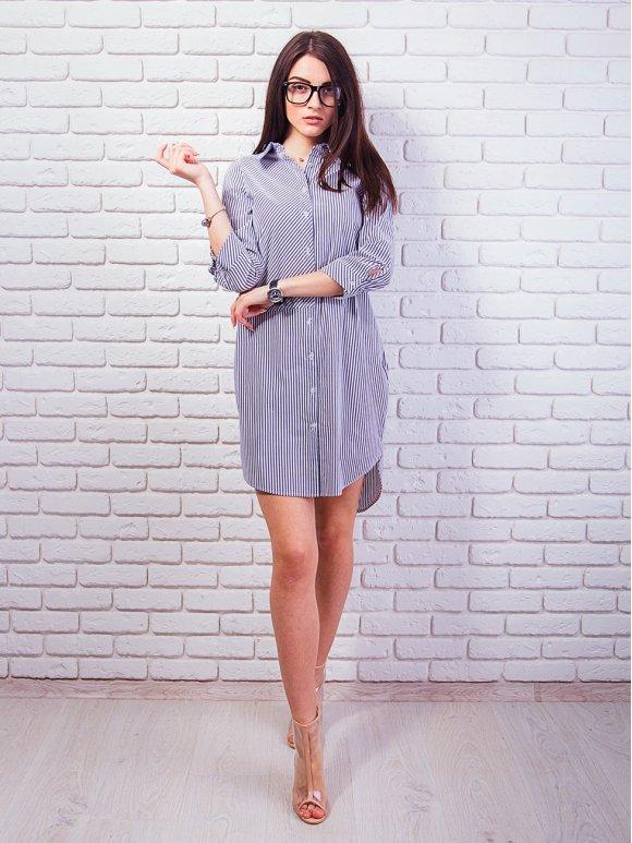 Платье-рубашка с ассиметрией полосок и полукруглым низом. Арт.2292