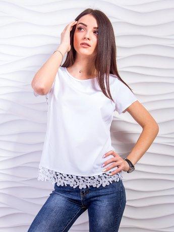 Оригинальная блуза с дорогим кружевом на спинке и по низу. Арт.2333
