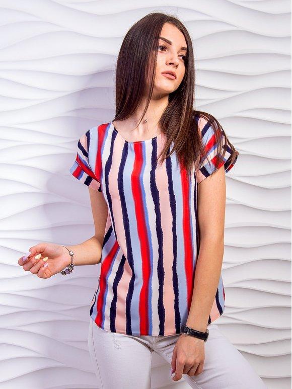 Стильная блуза в цветную полоску. Арт.2339