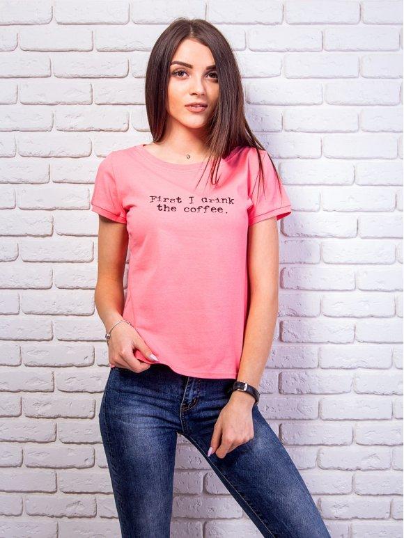Укороченная футболка со слоганом. Арт.2362
