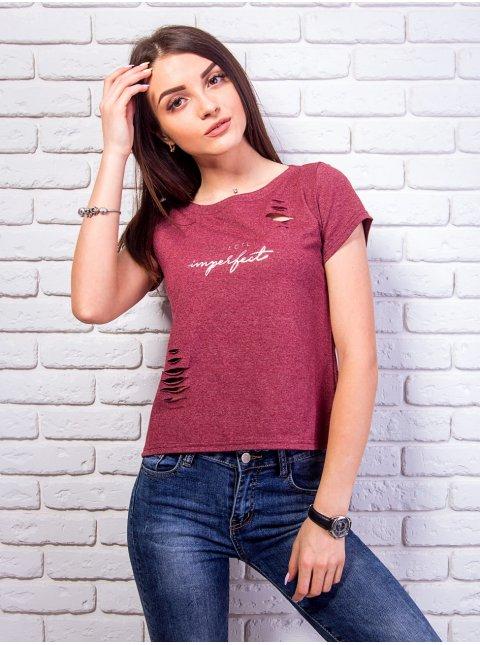 Крутая футболка с разрезами и принтом. Арт.2358