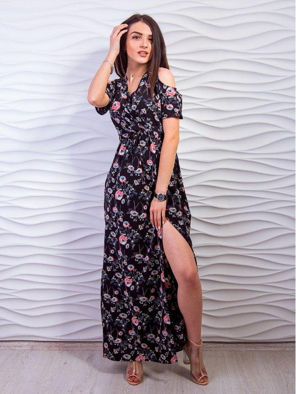 платье с разрезом внизу и вырезами на плечах фото