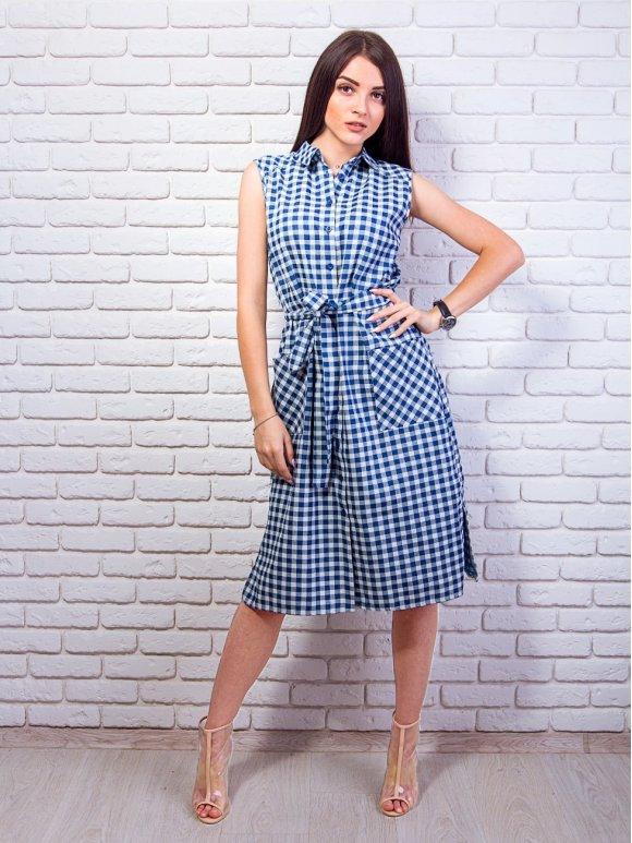 Актуальное летнее платье-рубашка в клетку. Арт.2349