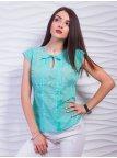 Эффектная блуза из тонкой ткани с вырезом-капелькой. Арт.2345