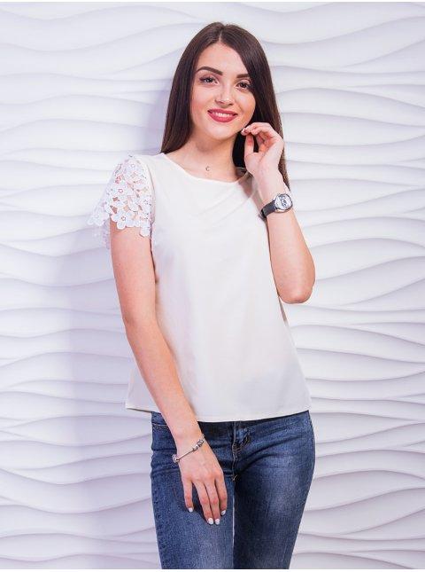 Элегантная блуза с рукавами из дорогого кружева. Арт.2383