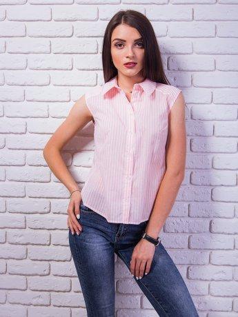 Модная укороченная рубашка без рукавов. Арт.2348