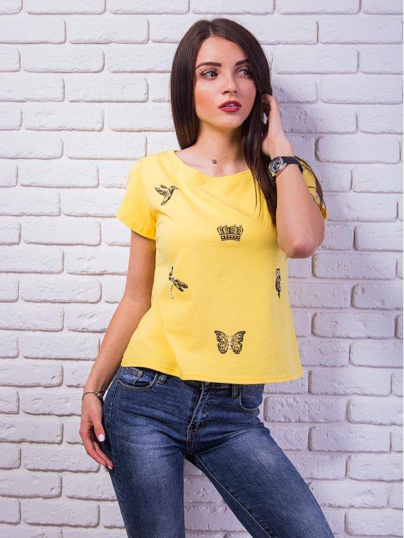 Стильная футболка с принтом и стразами. Арт.2354