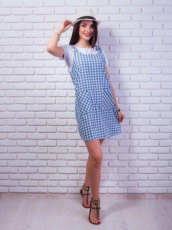 Необычное клетчатое платье-комбинезон с карманами. Арт.2371