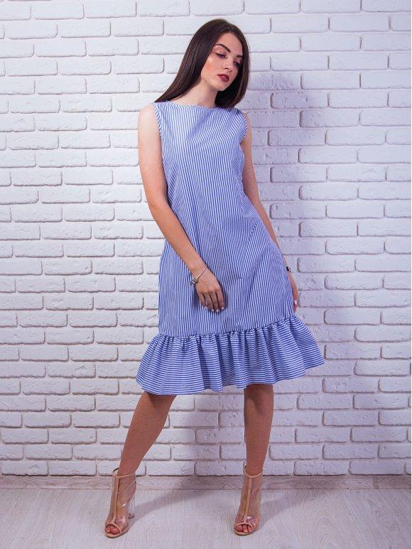 Трендовое платье в полоску с воланом по низу. Арт.2334