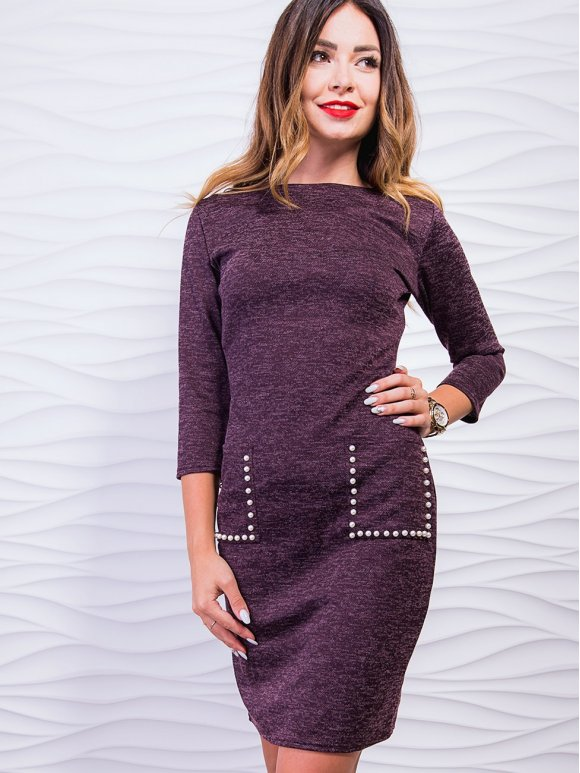 Красивое платье с накладными карманами, украшенными жемчугом. Арт. 2418