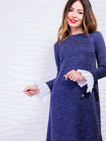Элегантное платье с плиссировкой и завязками на рукавах. Арт.2427