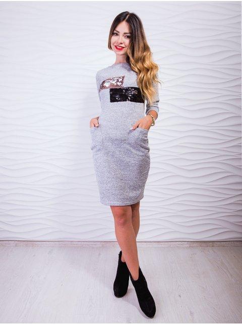 Стильное платье с двухсторонними пайетками. Арт.2408