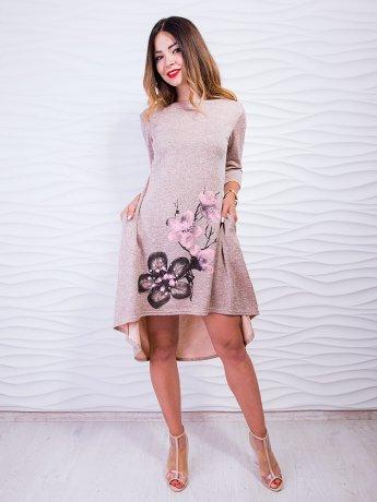 Свободное платье с принтом, украшенным жемчугом. Арт.2411